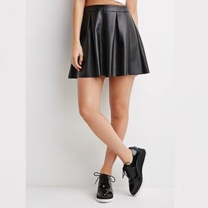 Forever 21 Faux Leather Pleated Skater Skirt